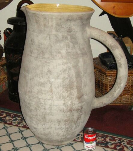 Antique American Pottery Pitcher-Large-49LBS-Vase W/Handle-Primitive-Hand Thrown