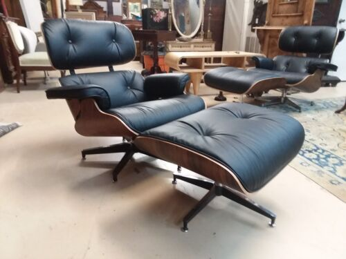 Mid Century Charles & Ray Eames Lounge Chair & Ottoman Rosewood MCM Repro