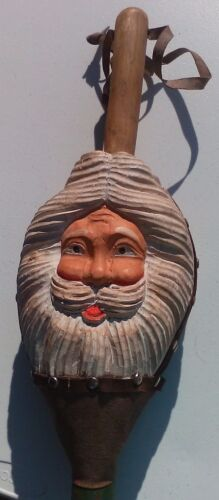 VINTAGE Leather Hand Carved Wood Father Christmas Fireplace Bellows Santa Clause