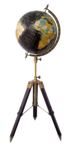 "12"" Nautical Authentic World Globe W Tripod Stand Decor Map Modern Vintage gift"