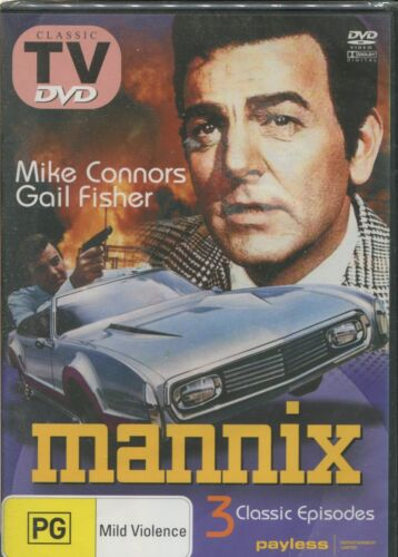 MANNIX -  Mike Connors, Gail Fisher, Ward Wood - DVD - 3 CLASSIC EPISODES