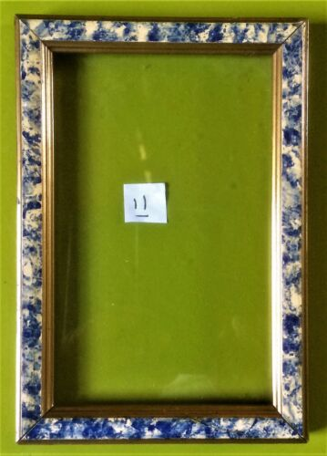 vintage white blue painted & gold plated little frame + glass cadre peint Rahmen