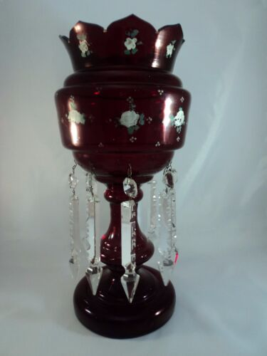 Huge Antique Ruby Red Mantle Luster with Prisms Raised Painted Floral Pattern