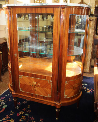 Fine French Inlaid Bronze Mounted Crystal China Curio Passover Cabinet C1920