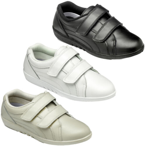 Womens FreeStep Rex Leather Strap Touch Fasten Comfort Casual Shoes Sizes 3 to 9