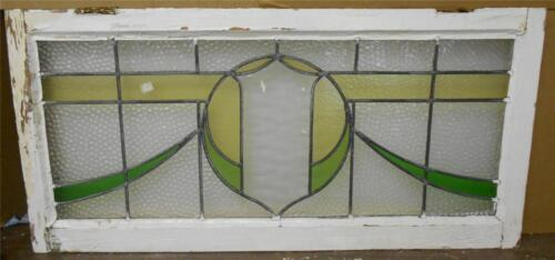 """LARGE OLD ENGLISH LEADED STAINED GLASS WINDOW Shield Sweep design 37"""" x 17.75"""""""