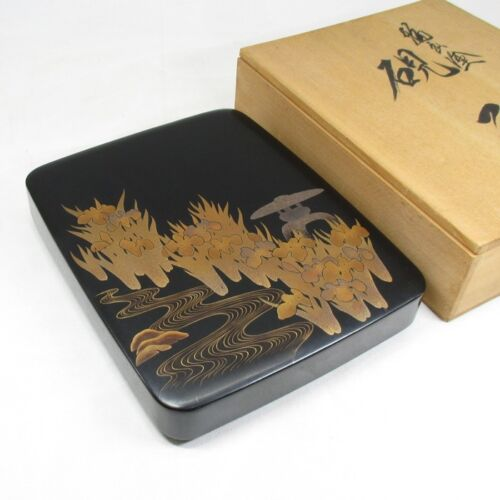 D925: Classy Japanese WAJIMA lacquer ware ink stone case with very good MAKIE 2