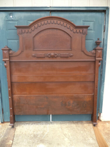 Beautiful Walnut & Burl Victorian Renaissance Revival High Back Bed c1875