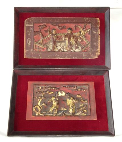 2x 19CT Chinese Framed Carved Red Panels of Scenes w. Figures in Gilt (Gem)
