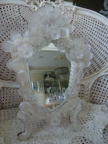 LARGE VINTAGE ITALIAN VENETIAN MURANO GLASS MIRROR WITH STAND ***EXQUISITE***
