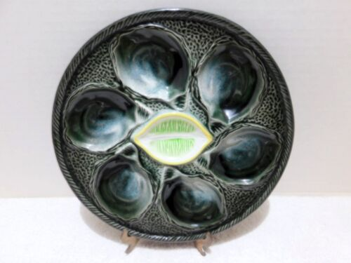 VINTAGE OYSTER PLATE(S) FRANCE FAIENCE / MAJOLICA  6 WELLS  EX COND