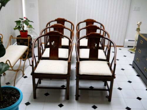 Henredon Set 6  Elm Dining Chairs Ming Chinoserie Modern Asian