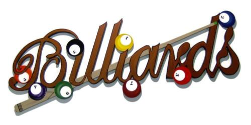 Brown Billiards Sign, wall hanging,wall sculpture,game room, wall decor 48x20,