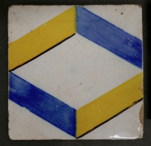 Antique Portuguese Tile Geometric Pattern