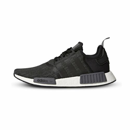[B79758] Mens Adidas Originals NMD_R1 Running Sneaker - Black Carbon White