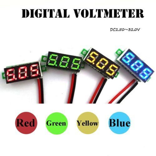 NEW 2-wire Mini DC 5-30V Voltmeter LED Panel 3-Digital Display Voltage Meter