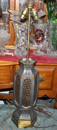 Antique Chester Cable Corp. Industrial Table Lamp-#2-Metal-X Patterns-Tall