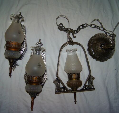 SET -2 Vtg DECO SLIP SHADE CAST IRON SCONCES + CHANDELIER LIGHT FIXTURE 1930