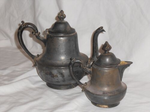 VINTAGE COLLECTIBLE SHEFFIELD PLATE 861 COFFEE/TEA POT & CREAMER