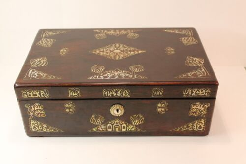 19th c. Antique Lap Desk with Mother of Pearl Inlay on Rosewood