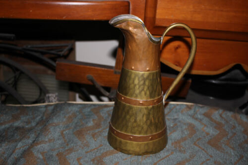 Antique Arts & Crafts Middle Eastern Arabic Copper Brass Pitcher