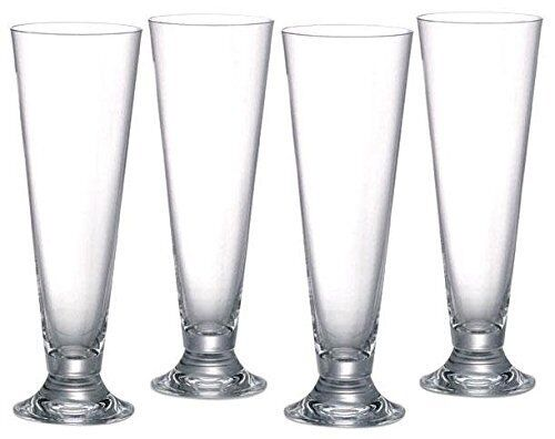 """Anchor footed pilsner beer ice tea glass 4PC set 16oz 9"""" tall"""