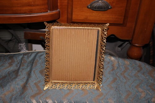 Vintage Antique Ormolu Gold Metal Picture Frame-Gold Flowers-Glass Front