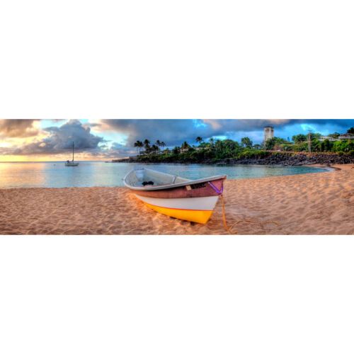 Photography Canvas Prints Wall Art Panoramic Landscape Beached Boat
