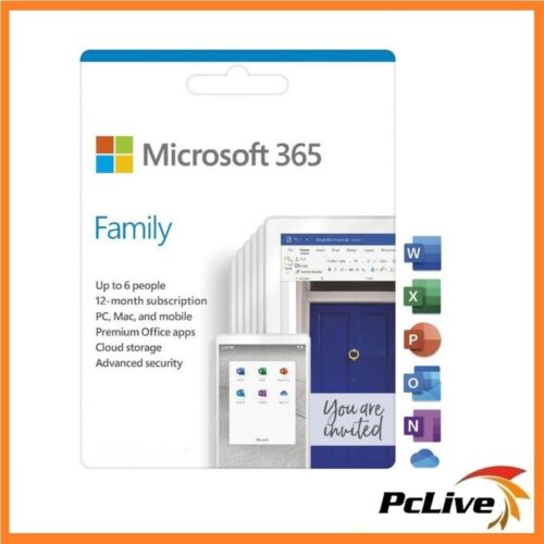 Microsoft 365 FAMILY Office 6 PC Mac 1 Year Word Excel PowerPoint Outlook Home