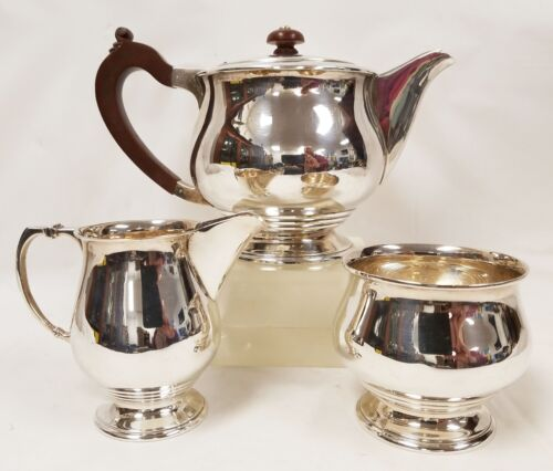 Antique English Sterling Silver Art Deco Tea Set Charles Green & Co. Birmingham