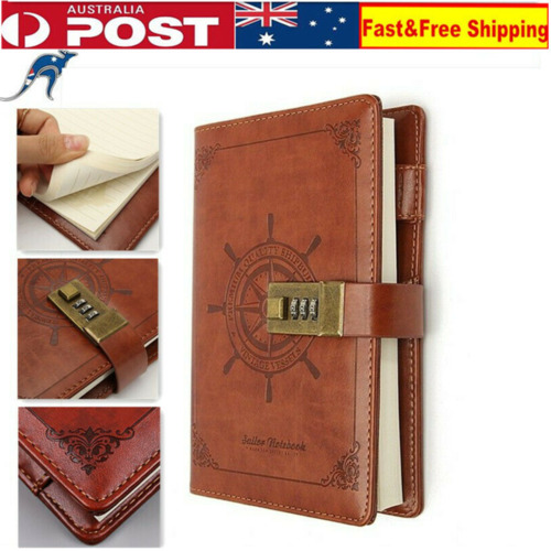 B6New Retro Note Book Brown Leather Journal Wired Diary with Password Code Lock