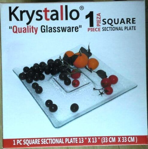 """krystallo serving plate glass square sectional 13"""" x 13"""""""