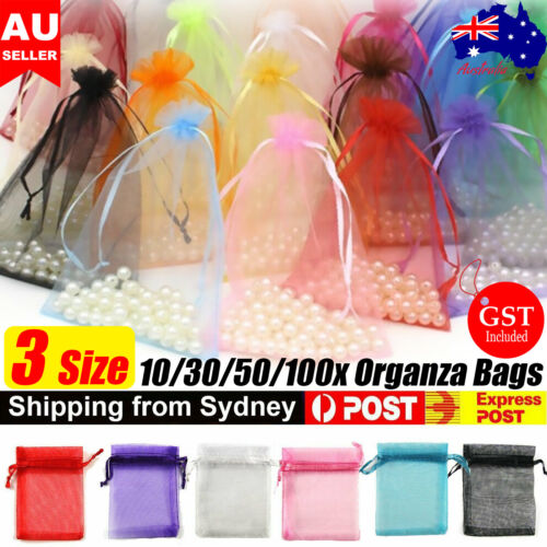 10-100Pcs 3 Size Organza Bag Sheer Bags Jewellery Wedding Candy Packaging Gift <br/> GST Included ✓ Sydney Fast Free Shipping ✓ Best price ✓