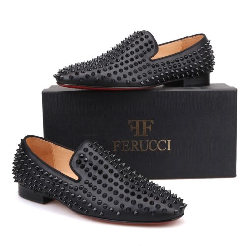 dd4e0ad3aa985 Men FERUCCI Black LEATHER Slippers Loafers With Black SPIKES Crystal GZ  Rivet