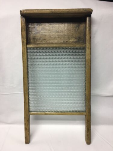 Vintage Economy Glass Canadian Woodenware Co Glass Washboard