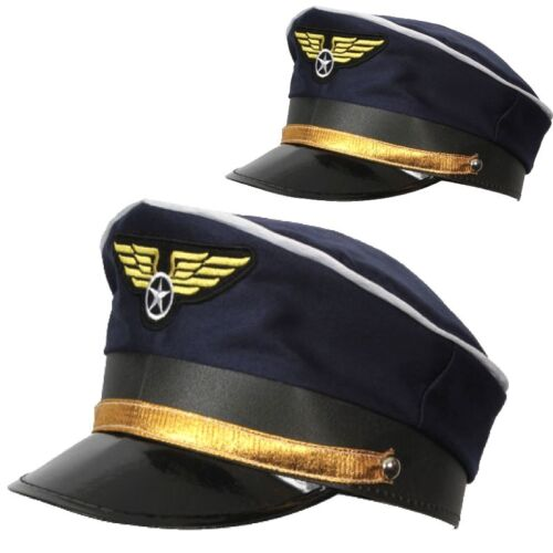 Adult Deluxe Blue AIRLINE PILOT Hat Cap Flying Captain Officer RAF Military Fanc
