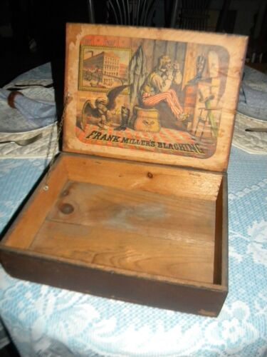 Early 1800's Wood Blacking Shoe Boot Box.. Neuman & Dinglinger Litho of New York