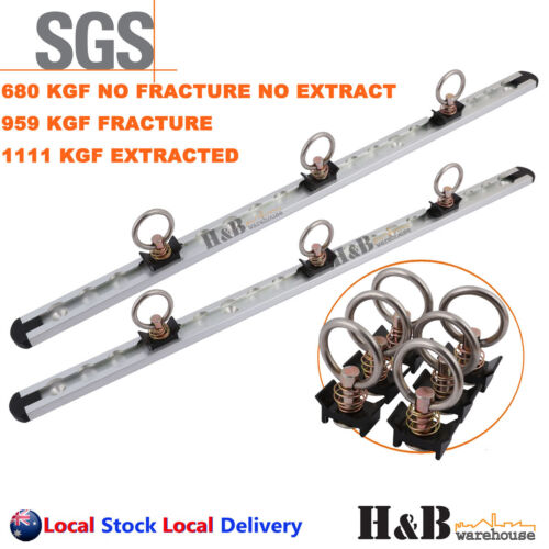 610mm (2 Track + 6 X Rings) Anchor Track  Tie Down Point Rail Tracking Trailer