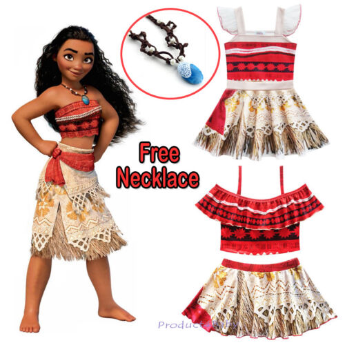 Kids Girls Dresses Moana Movie Princess Cosplay Costume Skirt with Necklace
