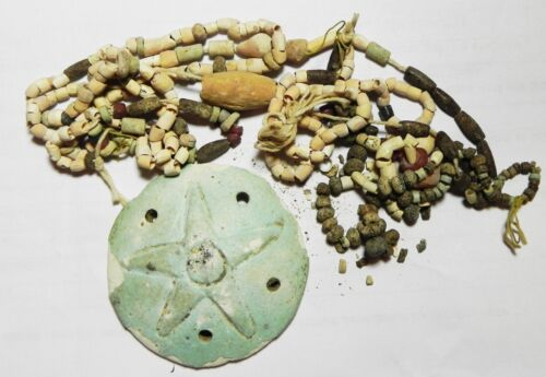 ZURQIEH -as6540- ANCIENT HOLY LAND, PHOENICIAN FAIENCE PENDANT WITH BEADS. 500 B