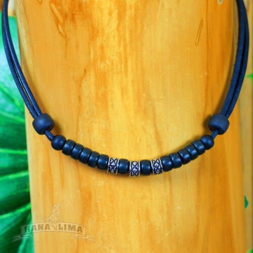 Leather Necklace with Stainless Steel Pearls Surfer Men Women New