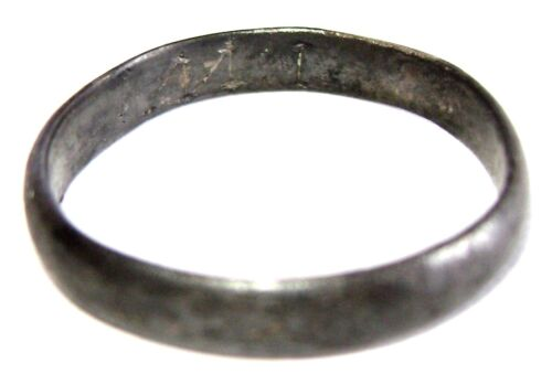 """Russian Empire silver  wedding ring with initials inside """"M.I."""""""