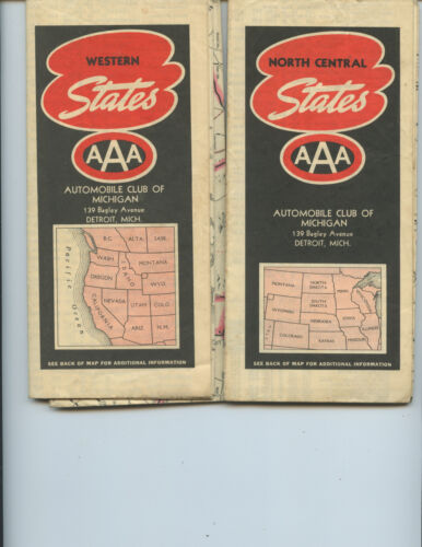 """(2) 1939 AAA """"WESTERN STATES"""" AND """"NORTH CENTRAL STATES"""" ROAD MAPS (NICE)"""