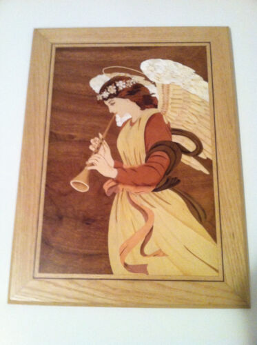 Large Marquetry Original Wood Inlay of Angel with Horn, wall hanging, picture