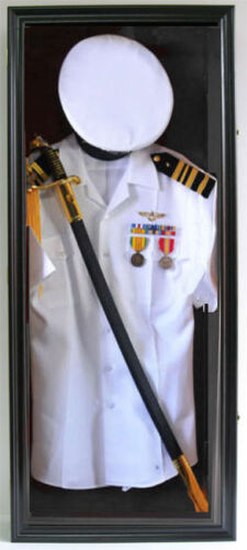 Military Shadow Box Uniform Sword Gun Display Case Frame Cabinet-FC44(Bla)-BLOther Militaria - 135