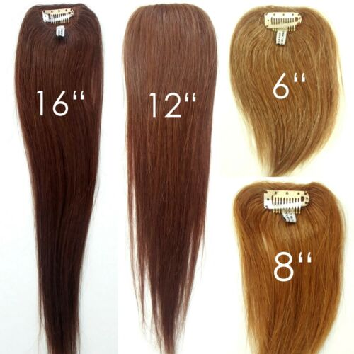100% Human Hair Straight Clip in Piece Filler Seamless Add-On Bangs Topper 6-16""