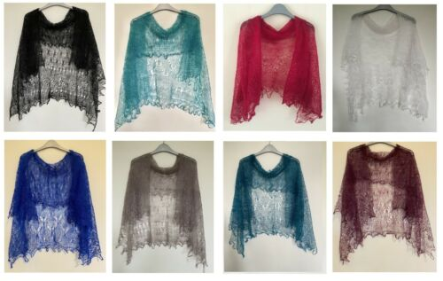 HAND KNITTED GOAT YARN LACE ORENBURG SHAWLS 120cm x 120cm MANY COLOURS AVAILABLE <br/> 50+ colours. Look inside for many more exciting colours
