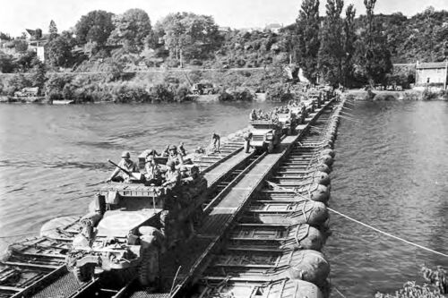 Vehicles of the U.S. 3rd Armored Division cross the Seine River-France-1945Other WWII Reproductions - 156438