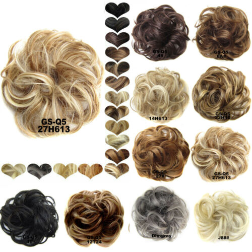 Womens Wrap Messy Curly Bun Hair Piece Wig Scrunchie Ponytail Hair Extensions