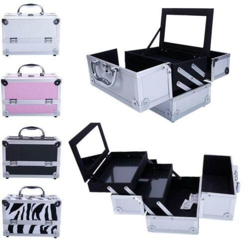 Travel Aluminum Makeup Train Case Cosmetic Tattoo Jewelry Box With Mirror 4color